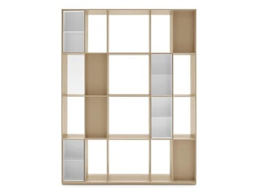 Freestanding double-sided MDF bookcase DIVISION | Double-sided bookcase
