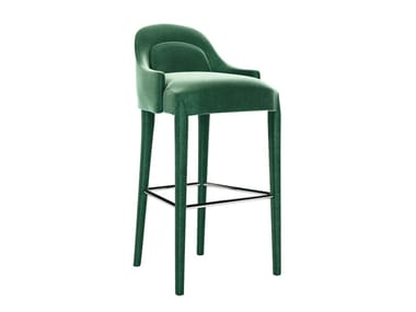 Upholstered fabric barstool with footrest DIXIE | Barstool