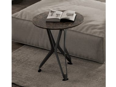Marble-effect ceramic coffee table DNA XS