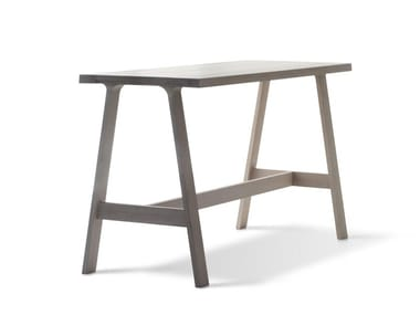 Rectangular solid wood high table DOBLE BAR