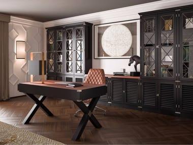 Bookshelf with diamond door and desk DOLCEVITA