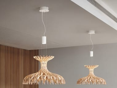 Wooden pendant lamp DOME 60