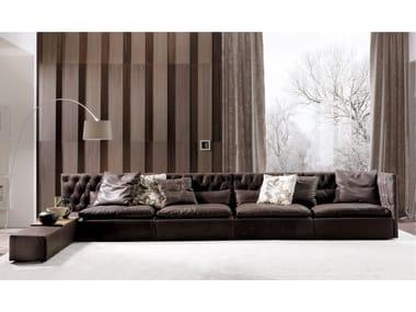 Tufted sectional leather sofa DOMINO CAPITONNE' | Leather sofa