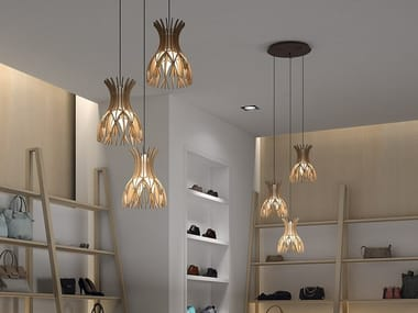 LED wooden pendant lamp DOMITA S/20/3L