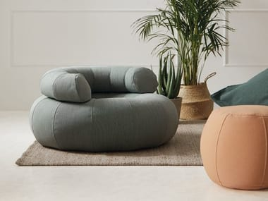 Fabric armchair with armrests DON OUT | Armchair