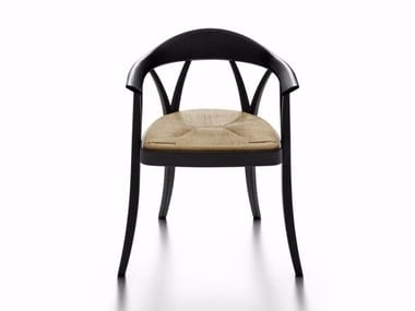 Solid wood chair with armrests DONZELLA