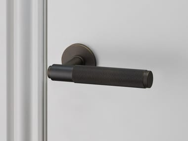 Industrial Style Door Handle On Rose Door Level Handle   Smoked Bronze