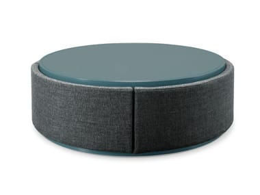 Round fabric coffee table with storage space DORIA | Fabric coffee table