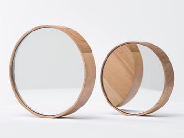 Round wall-mounted framed wooden mirror DORIAN | Framed mirror