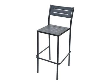Stackable galvanized steel garden stool with back DORIO75