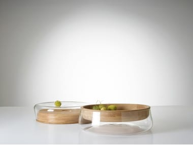 Wood and glass fruit bowl DOUBLE BOWL