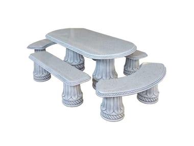 Seduta e tavolo in pietra ricostrutita DRAGONERIA