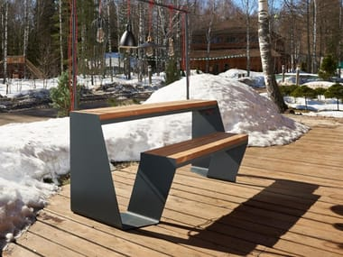Steel and wood picnic table with integrated benches DRAGONFLY | Picnic table