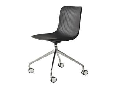 Swivel polypropylene office chair with castors DRAGONFLY | Office chair with castors