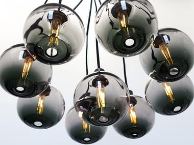 Blown glass pendant lamp DRAPE SKIRT 9 CHANDELIER