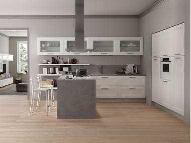Lacquered kitchen with handles with peninsula DREAM | Kitchen with peninsula
