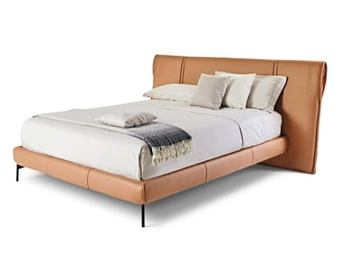 Upholstered leather bed with removable cover DRESS