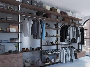 Aluminium and wood walk-in wardrobe DRESS WALL