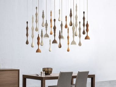 LED direct light wooden pendant lamp DROPOP LED COMPOSITION