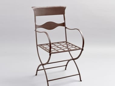 Contemporary style iron garden chair with armrests DUE LAMIERE | Chair with armrests