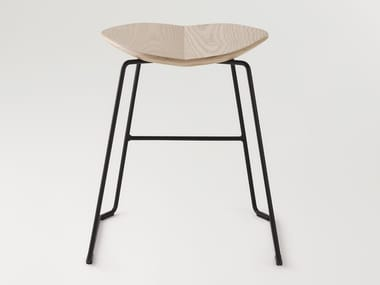 Low sled base stool with footrest DUET | Low stool