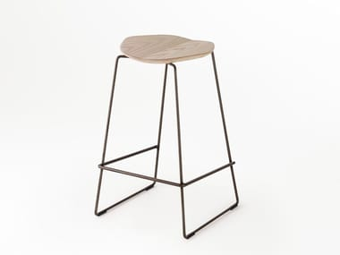 High sled base stool with footrest DUET | Stool