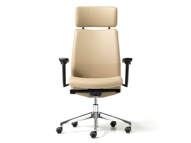 Eco-leather executive chair with 5-spoke base with headrest DUKE | Executive chair with headrest