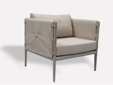 Upholstered fabric armchair with armrests DUNE