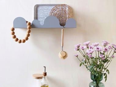 Wall coat hanger in painted steel with shelf DUNE