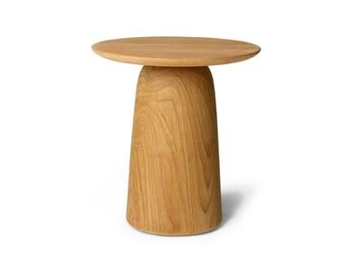 Round teak garden side table DUNES