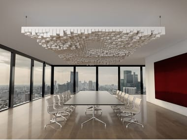 Basotect® hanging acoustic panel Designed acoustic connected cube dots