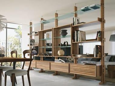 Double-sided divider walnut bookcase E-110 | Bookcase