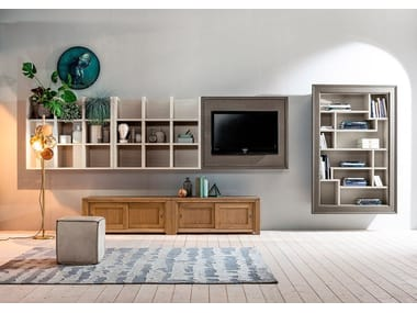 Sectional solid wood TV wall system E01