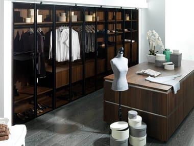 Sectional wood and glass walk-in wardrobe E6 | Wood and glass walk-in wardrobe