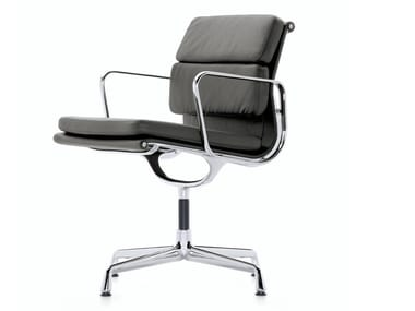 Leather chair with 4-spoke base with armrests EA 207