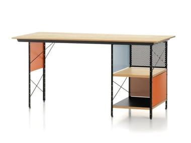 Rectangular aluminium and wood writing desk with bookcase EAMES DESK UNIT EDU