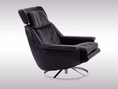 Upholstered leather armchair EAMES ERA CHAIR