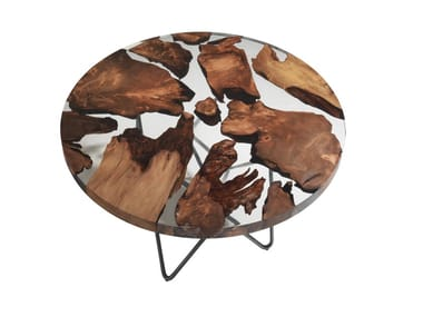 Round Kauri wood and resin table EARTH
