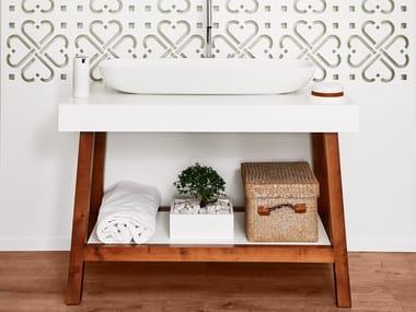 Floorstanding single wooden bathroom cabinet EASEL | Wooden bathroom cabinet