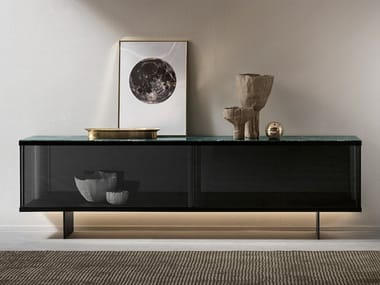 Glass sideboard with sliding doors with integrated lighting EAST SIDE | Sideboard