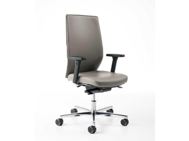 Leather task chair with armrests EASY B PLUS