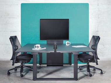 Sound absorbing free standing workstation screen ECHOCOVE® MEDIA