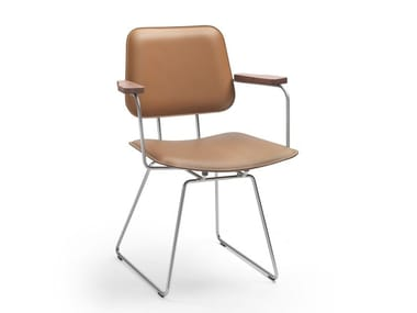 Stuhl aus gegerbtem Leder mit Armlehnen ECHOES S.H. | Stuhl mit Armlehnen