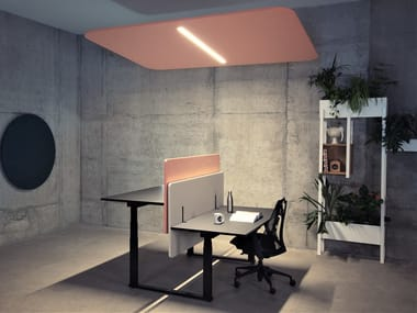 Hanging acoustic panel with Integrated Lighting ECHOLED® LINEAR