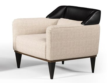 Leather and fabric armchair with armrests ECLIPSE | Armchair