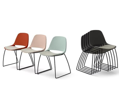 Stackable chair with integrated cushion ECLIPSE   Chair with integrated cushion