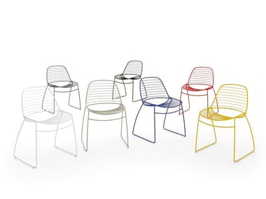 Sled base stackable chair ECLIPSE WIRE