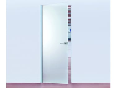 Hinged flush-fitting glass door with concealed hinges ECLISSE Syntesis® Battente Glass