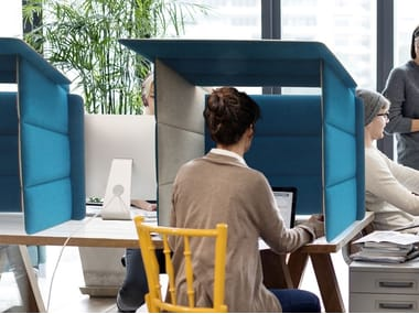 Sound absorbing workstation screen desktop partition ECOBOOTH | Workstation screen desktop partition