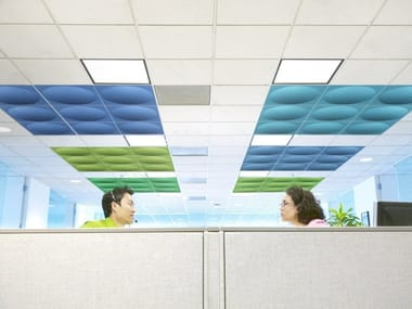 Sound absorbing polyester fibre ceiling tiles ECOROUND | Ceiling tiles